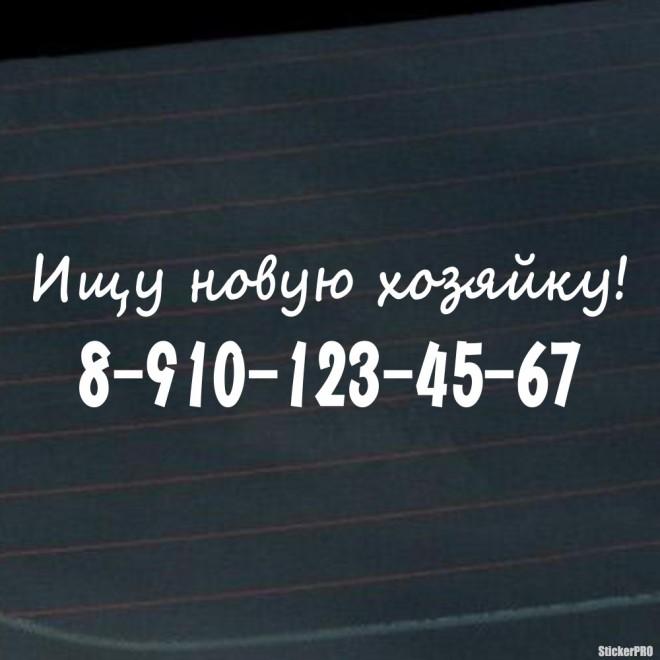 Наклейка Ищу новую хозяйку! с телефонным номером, на стекло автомобиля