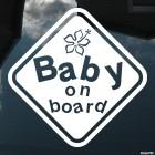 Наклейка baby on board гибискус