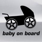 Наклейка baby on board гоночная коляска