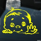 Наклейка мальчик машет в машине