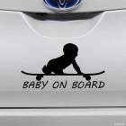 Наклейка Baby on Board ребенок на скейте