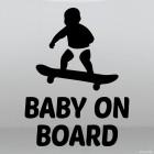 Наклейка Baby on Board ребенок на скейтборде