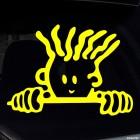 Наклейка ребенок с волнистыми волосами в авто