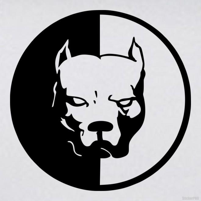 Наклейка питбуль голова собаки