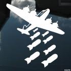 Наклейка бомбардировщик бросает бомбы