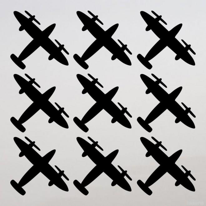 Наклейка 9 истребителей на День Победы