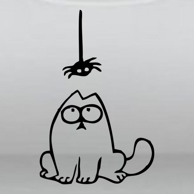 Наклейка Кот Саймона и паук