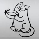 Наклейка Кот Саймона просит еду на задних лапах