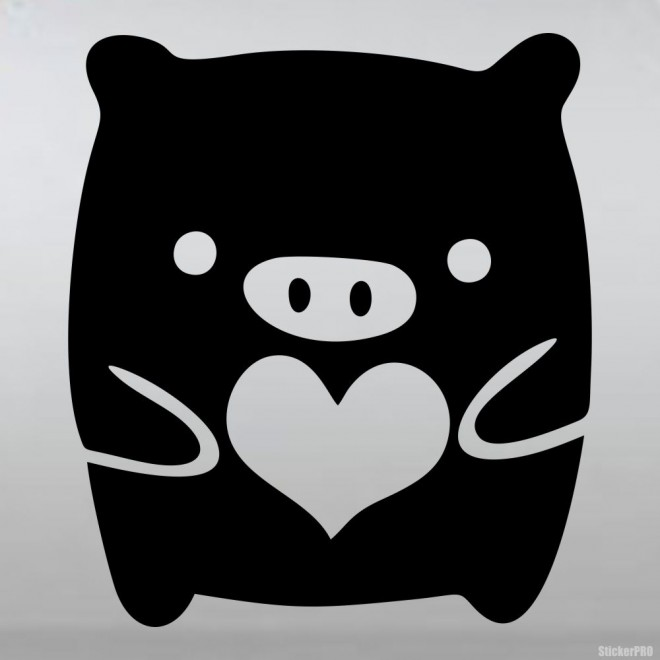 Наклейка Monokuro Boo счастливая хрюшка с сердцем JDM