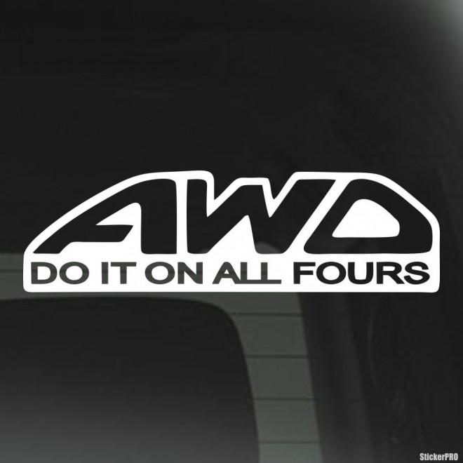 Наклейка AWD Do it on all fours JDM (Делайте это всеми четырьмя)