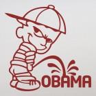 Наклейка плохой мальчик Калвин писает на Обаму (bad boy Calvin) 2