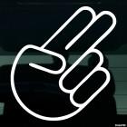 Наклейка жест 2 пальца JDM