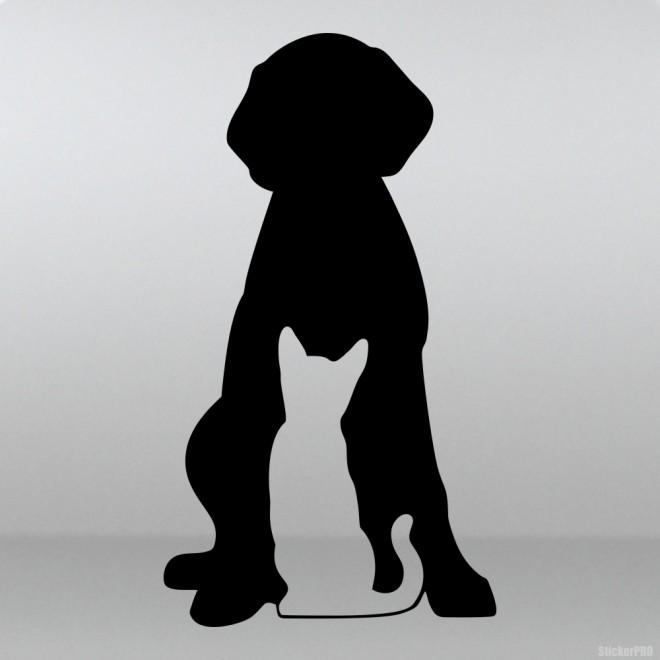 Наклейка собака и кошка домашние питомцы