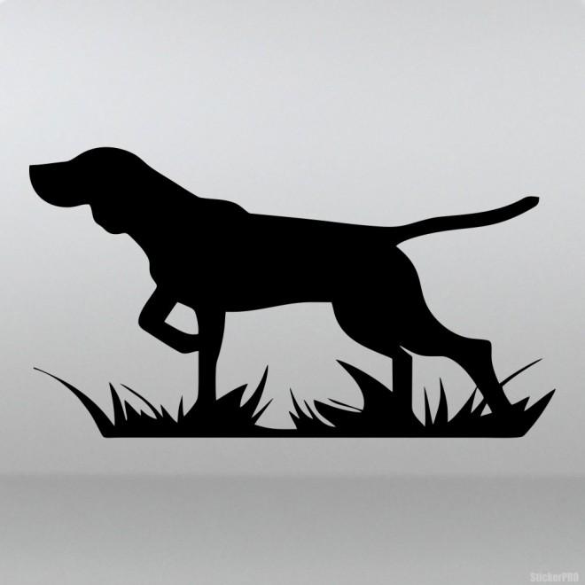 Наклейка Охотничья собака стоит и ждет