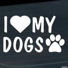 Наклейка I Love my dogs след и сердце