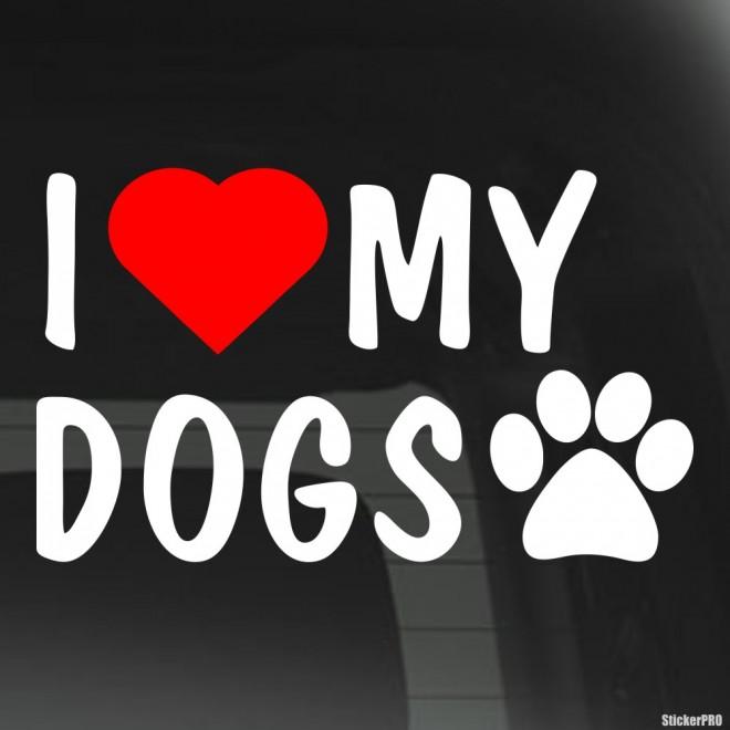 Наклейка I Love my dogs след и красное сердце
