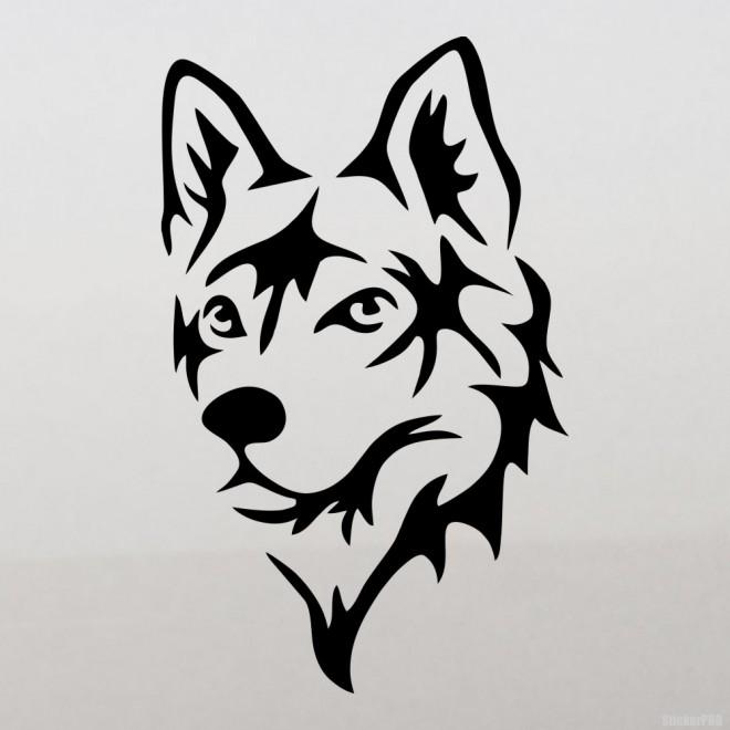 Наклейка Хаски голова собаки 3