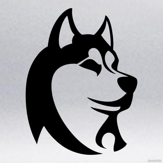 Наклейка Хаски голова собаки