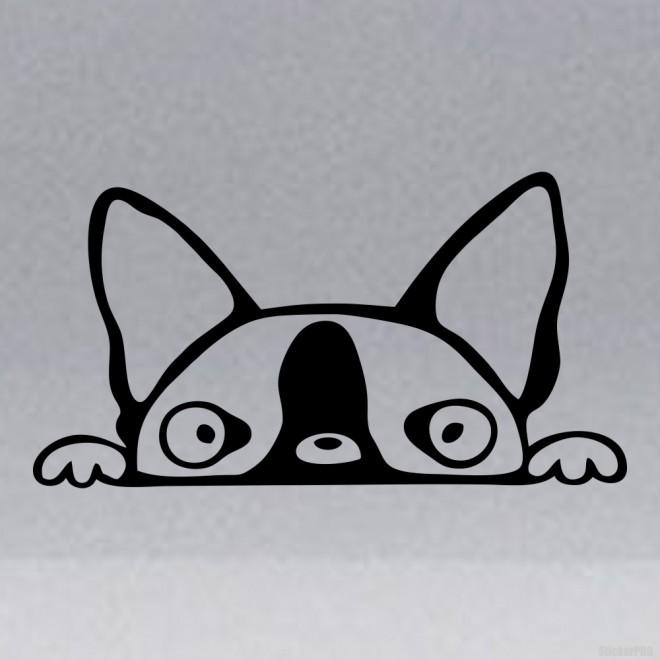 Наклейка Терьер забавная голова собаки