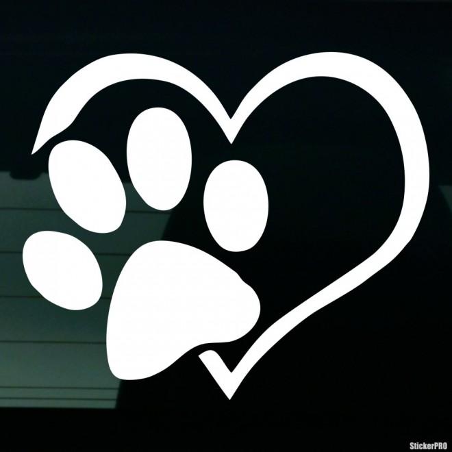 Наклейка любовь собачий след на сердце