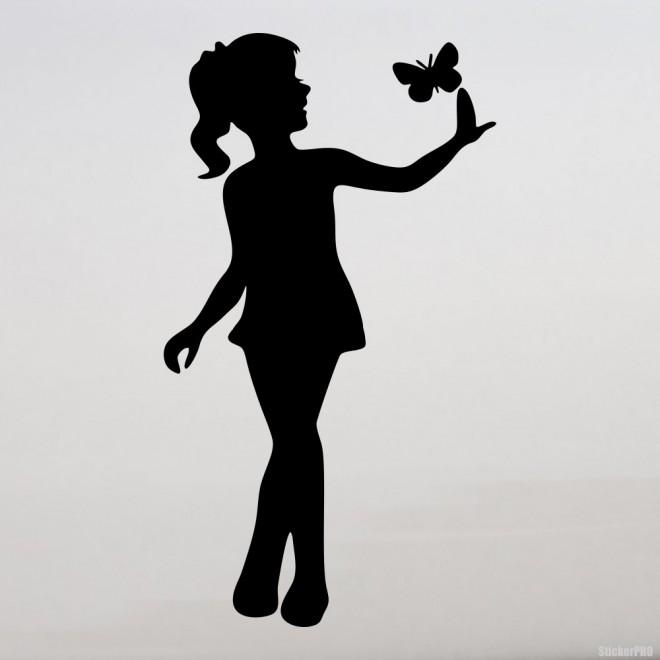 Наклейка Бабочка и девочка