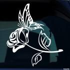 Наклейка Бабочка и роза