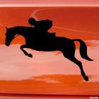Наклейка конкур лошадь и наездник в прыжке, конный спорт