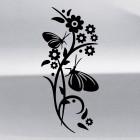 Наклейка интерьерная бабочка и цветы