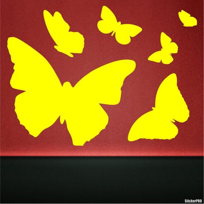 Наклейка 6 бабочек для оформления интерьера