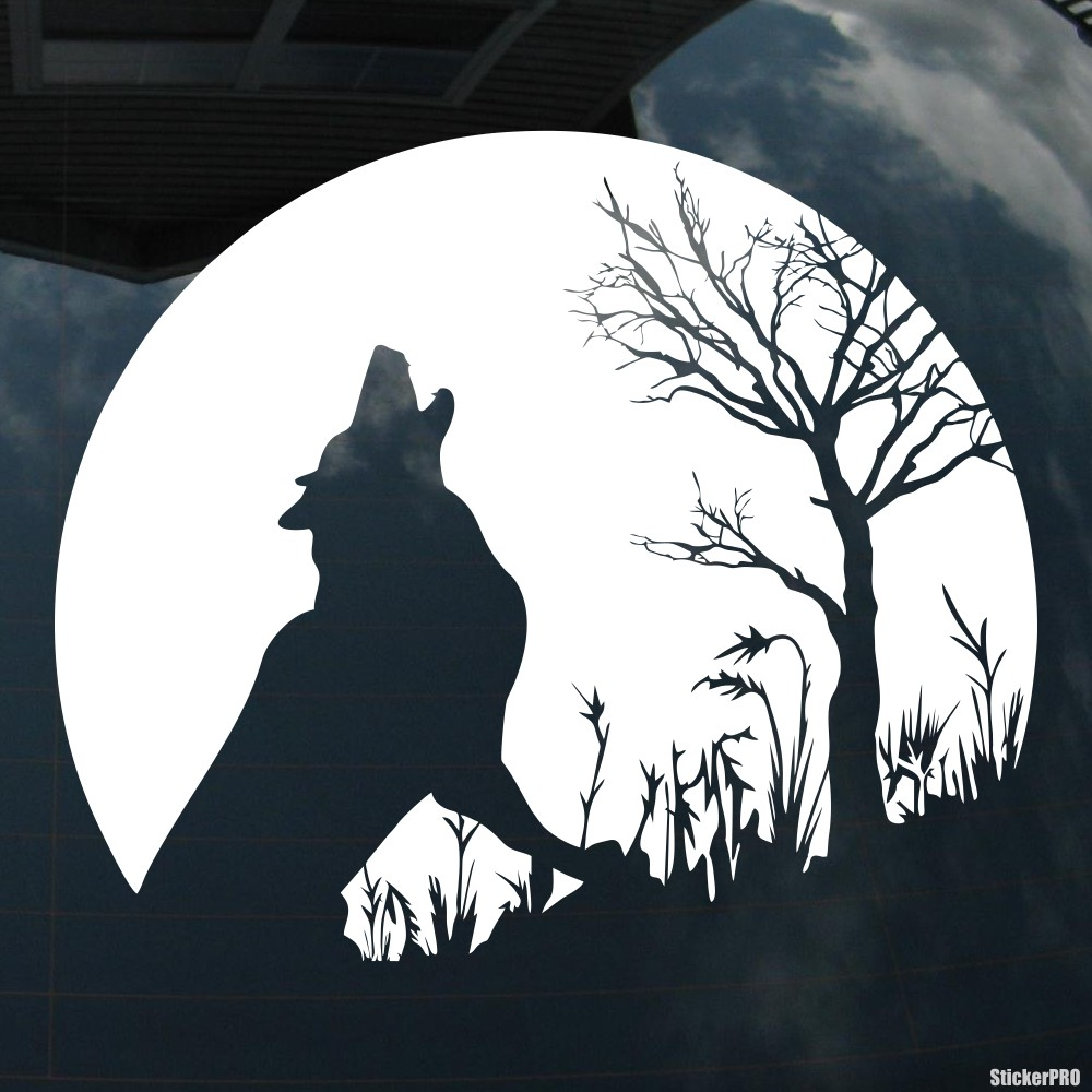 тату фото волк воет на луну