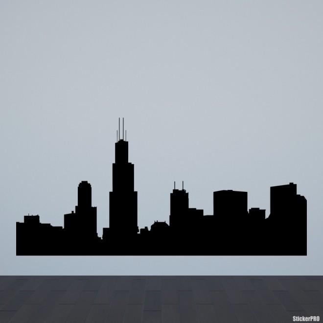Наклейка Чикаго городской горизонт
