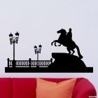 Наклейка Санкт-Петербург медный всадник городской горизонт