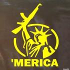 Наклейка 'merica с АК-47 пародия на статую Свободы