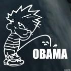 Наклейка плохой мальчик Калвин писает на Обаму (bad boy Calvin)