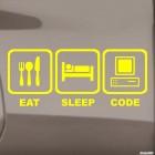 Наклейка Eat, Sleep, Code жаба на JDM