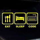Наклейка Eat, Sleep, Code жаба на JDM с клавиатурой