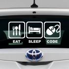 Наклейка Eat, Sleep, Code жаба на JDM с компьютерной мышкой