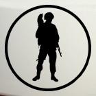 Наклейка Вежливые люди - солдат с котом на плече