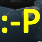 Наклейка смайлик показывает язык символами :-P