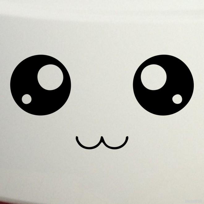 Наклейка смайлик с большими глазами аниме