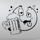 Наклейка пьяный смайлик с пивом