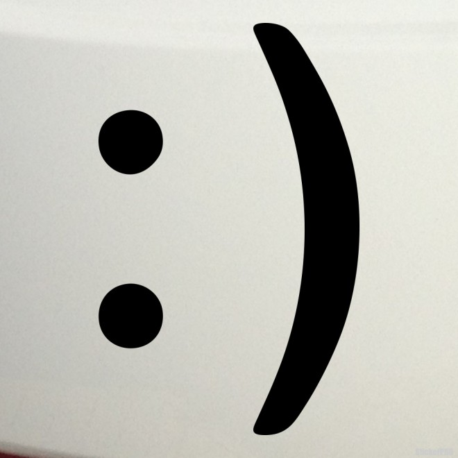 Наклейка довольный смайлик символами :)
