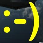 Наклейка довольный смайлик символами :-)