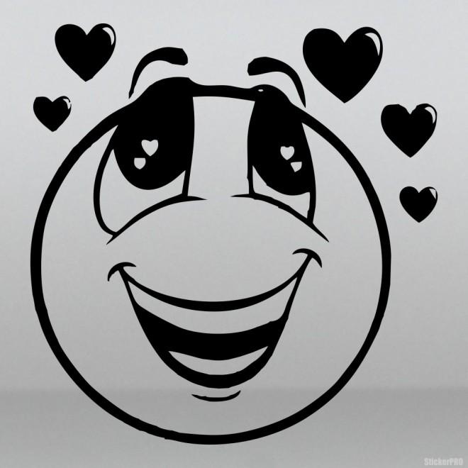 Наклейка влюбленный смайлик с сердцами