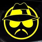 Наклейка серьезный смайлик в шляпе, очках и с усами