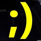 Наклейка подмигивающий улыбающийся смайлик символами ;)