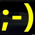 Наклейка подмигивающий улыбающийся смайлик символами ;-)