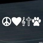 Наклейка Мир Любовь Музыка Бог Животные