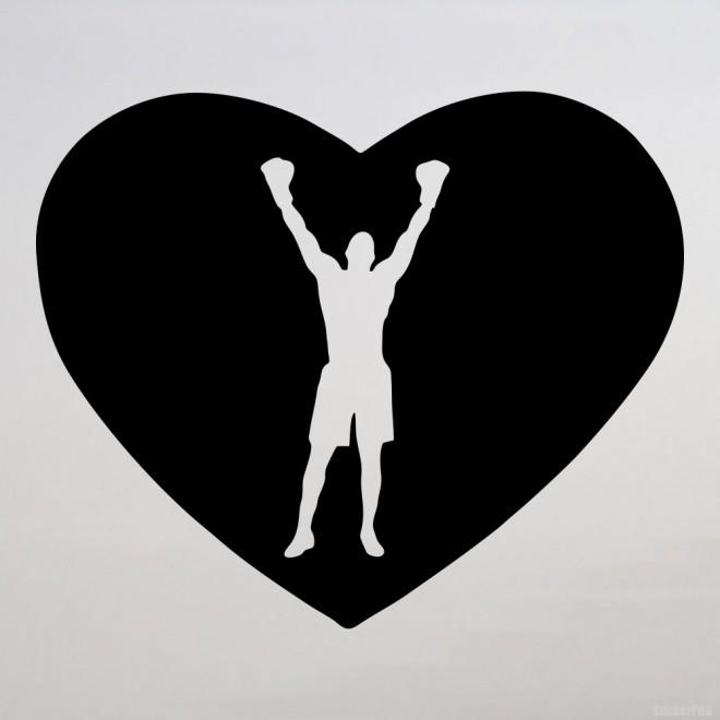 Наклейка боксер поднял руки, в сердце