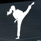 Наклейка каратистка удар ногой 2